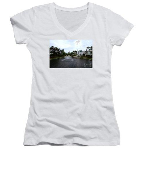 Pond At Alys Beach Women's V-Neck T-Shirt (Junior Cut) by Megan Cohen