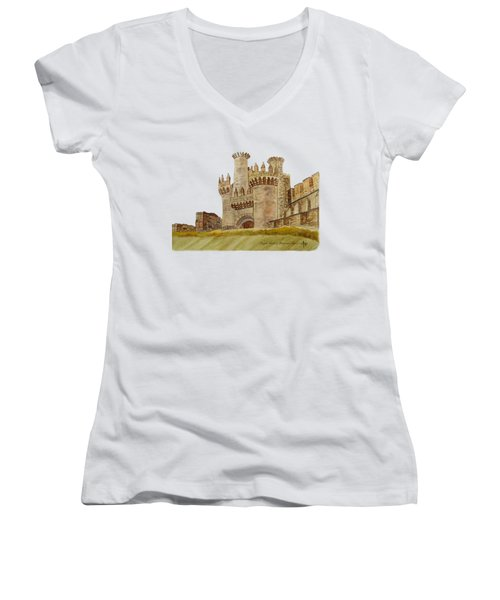 Ponferrada Templar Castle  Women's V-Neck T-Shirt (Junior Cut) by Angeles M Pomata
