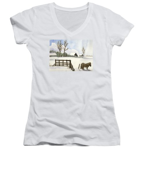 Women's V-Neck T-Shirt (Junior Cut) featuring the painting Pony In The Snow by Annemeet Hasidi- van der Leij