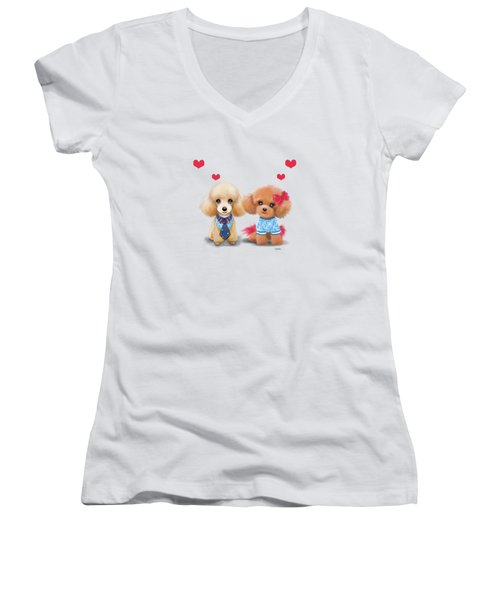Poodles Are Love Women's V-Neck T-Shirt