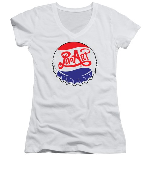 Pop Art Bottle Cap Women's V-Neck (Athletic Fit)