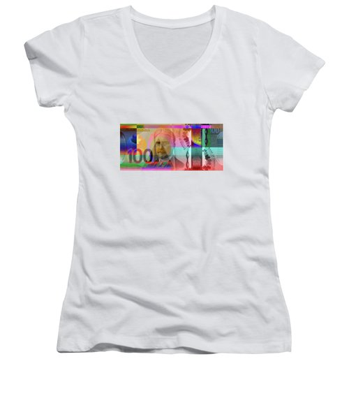 Pop-art Colorized New One Hundred Canadian Dollar Bill Women's V-Neck (Athletic Fit)