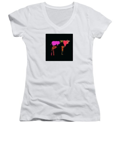 Women's V-Neck T-Shirt (Junior Cut) featuring the photograph Pop Art Cow by James Bethanis