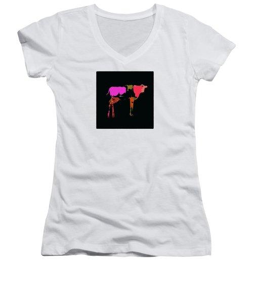 Pop Art Cow Women's V-Neck T-Shirt (Junior Cut) by James Bethanis