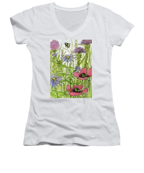 Poppies And Wildflowers Women's V-Neck
