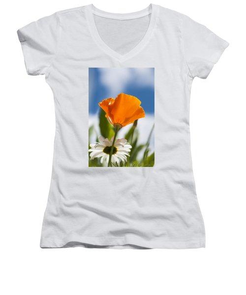 Poppy And Daisies Women's V-Neck
