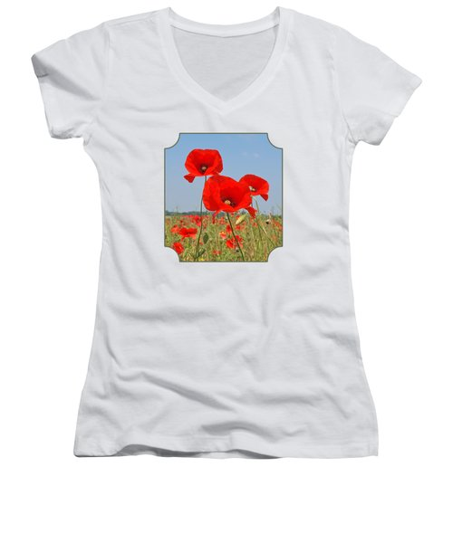 Poppy Fields 4 Women's V-Neck T-Shirt