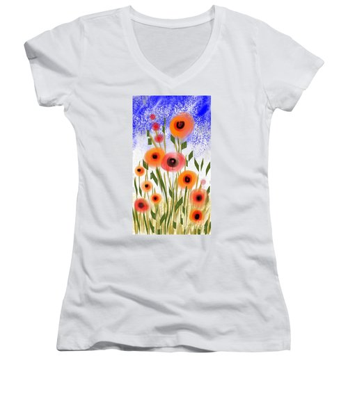 Poppy Garden Women's V-Neck T-Shirt