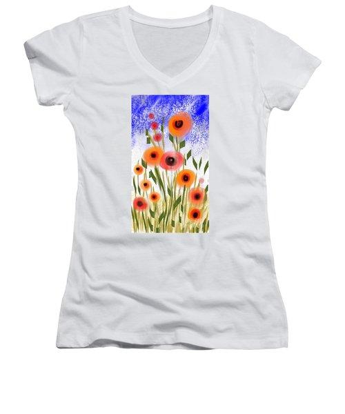 Poppy Garden Women's V-Neck T-Shirt