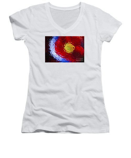 Women's V-Neck T-Shirt (Junior Cut) featuring the photograph Poppy Impressions by Jeanette French
