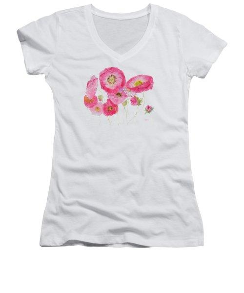 Poppy Painting On White Background Women's V-Neck T-Shirt (Junior Cut) by Jan Matson