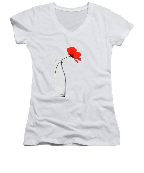 Poppy Red Women's V-Neck (Athletic Fit)
