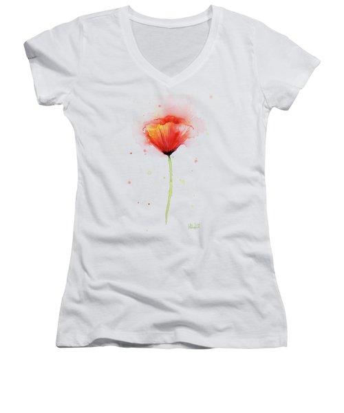 Poppy Watercolor Red Abstract Flower Women's V-Neck T-Shirt (Junior Cut) by Olga Shvartsur