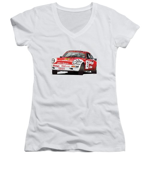 Porsche 911 Sc Rs Belga Team Women's V-Neck T-Shirt