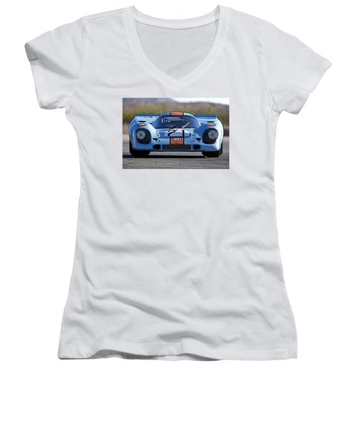 Porsche 917 Shorttail Women's V-Neck T-Shirt (Junior Cut) by Thomas M Pikolin
