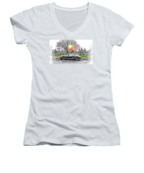 Women's V-Neck T-Shirt (Junior Cut) featuring the mixed media Porsche Gt In Oil by Aaron Berg