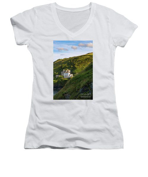 Women's V-Neck T-Shirt (Junior Cut) featuring the photograph Port Isaac Homes by Brian Jannsen