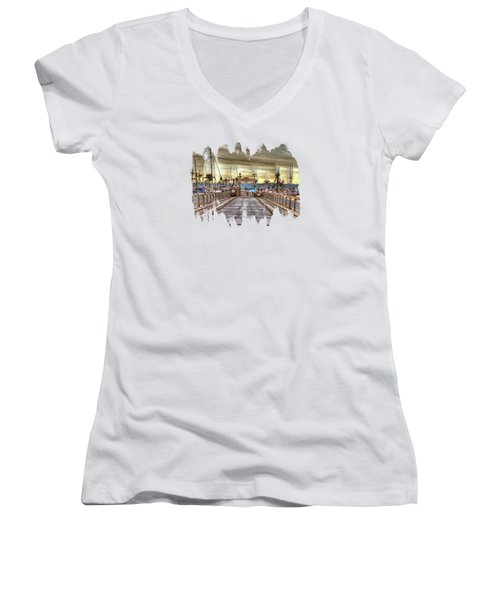 Port Of Newport - Dock 5 Women's V-Neck T-Shirt (Junior Cut) by Thom Zehrfeld