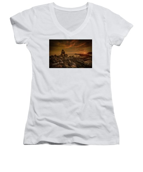 Porth Saint Beach At Sunset. Women's V-Neck (Athletic Fit)