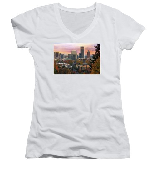 Portland Downtown Cityscape During Sunrise In Fall Women's V-Neck (Athletic Fit)