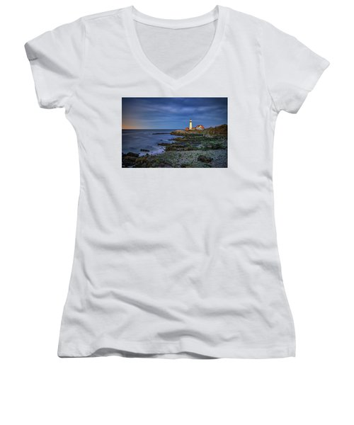 Women's V-Neck T-Shirt (Junior Cut) featuring the photograph Portland Head Aglow by Rick Berk