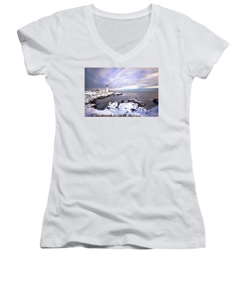 Portland Head Light Women's V-Neck T-Shirt