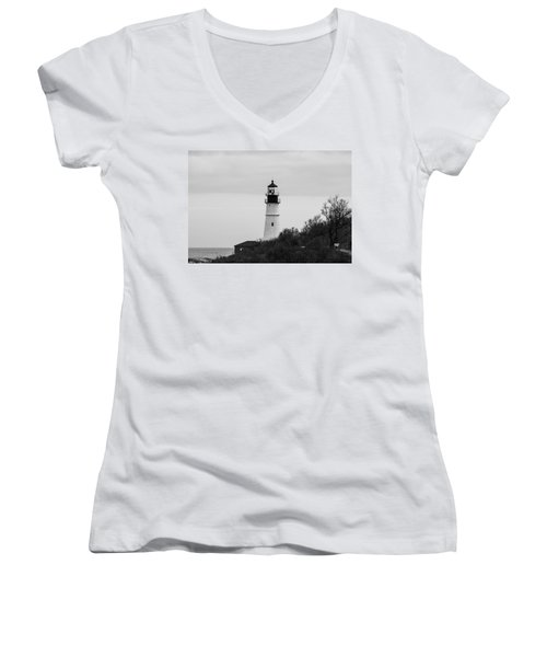 Women's V-Neck T-Shirt (Junior Cut) featuring the photograph Portland Head Light by Trace Kittrell