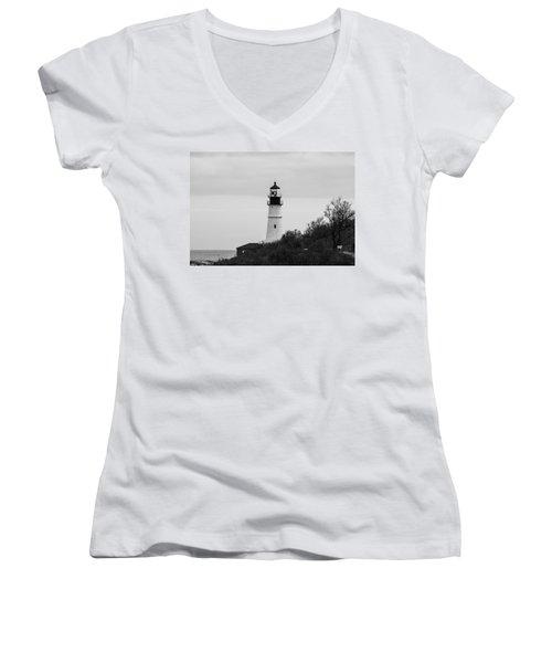 Portland Head Light Women's V-Neck T-Shirt (Junior Cut) by Trace Kittrell