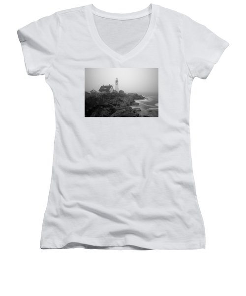 Portland Head Lighthouse In Fog Black And White Women's V-Neck (Athletic Fit)