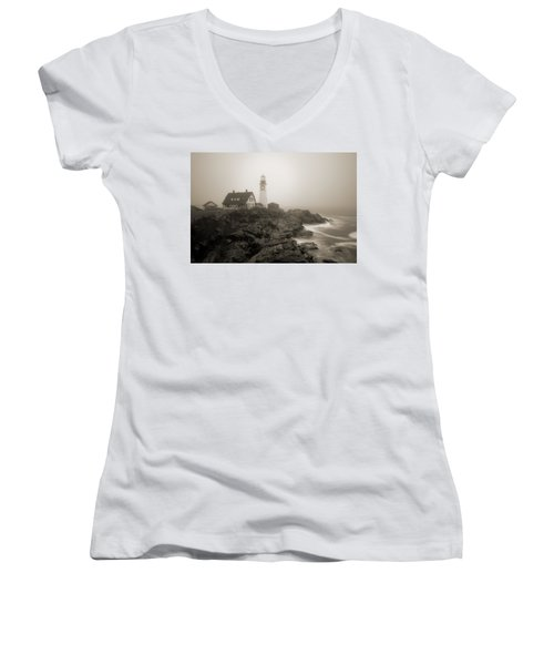 Portland Head Lighthouse In Fog Sepia Women's V-Neck (Athletic Fit)