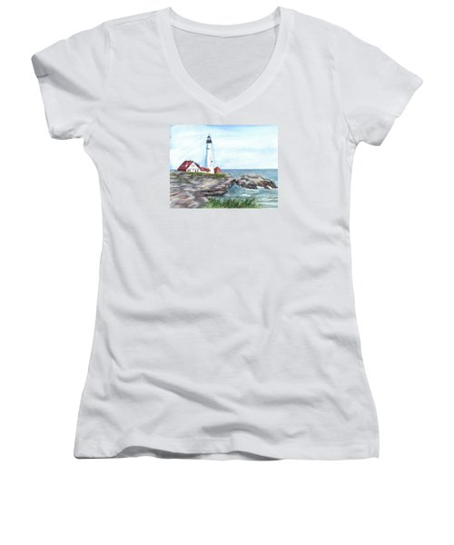Portland Head Lighthouse Maine Usa Women's V-Neck T-Shirt (Junior Cut) by Carol Wisniewski