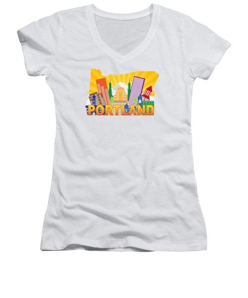 Portland Oregon Skyline In State Map Women's V-Neck T-Shirt