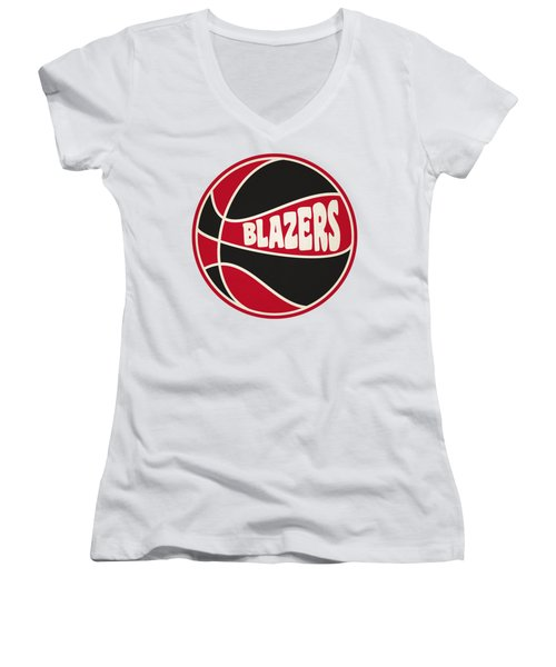 Portland Trail Blazers Retro Shirt Women's V-Neck T-Shirt (Junior Cut) by Joe Hamilton