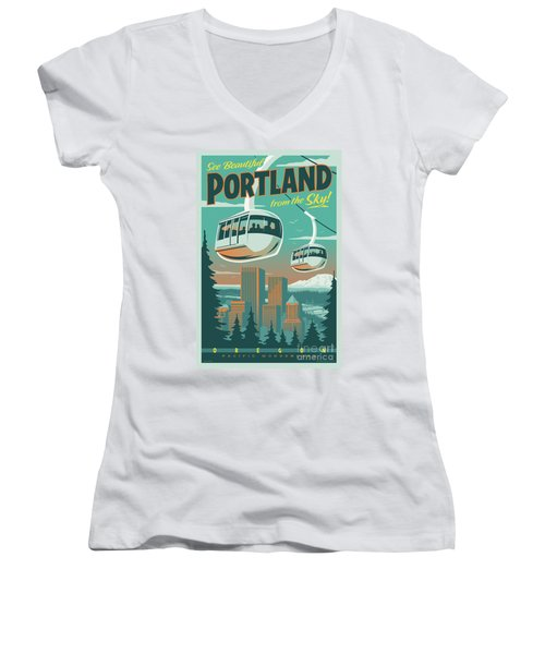 Portland Tram Retro Travel Poster Women's V-Neck (Athletic Fit)