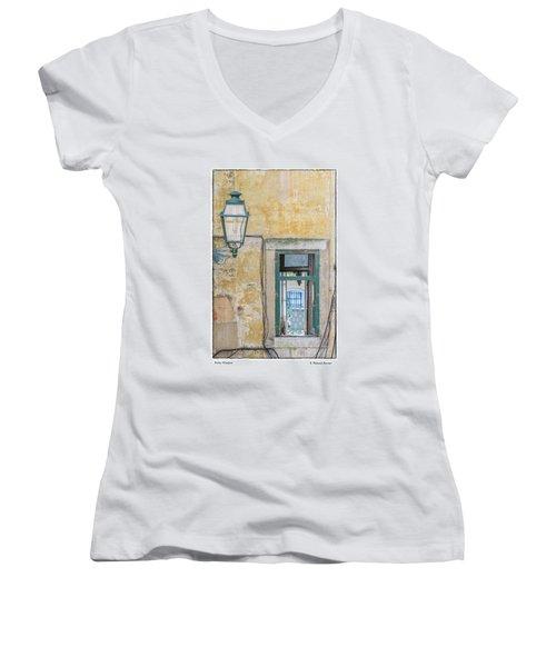 Women's V-Neck T-Shirt (Junior Cut) featuring the photograph Porto Window by R Thomas Berner