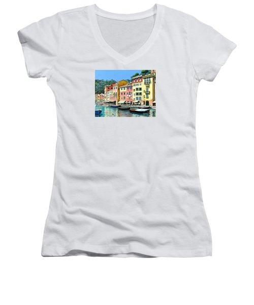 Portofino Sunshine 30 X 40 Women's V-Neck T-Shirt (Junior Cut) by Michael Swanson