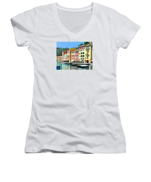 Portofino Sunshine 30 X 40 Women's V-Neck T-Shirt