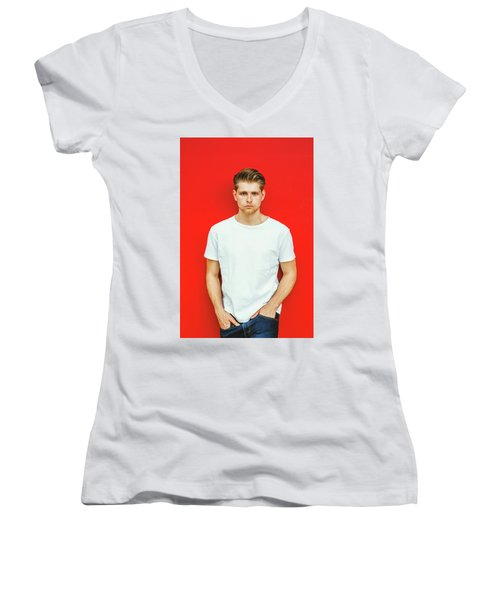 Portrait Of Young Handsome Man Women's V-Neck (Athletic Fit)