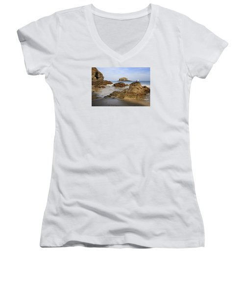 Women's V-Neck T-Shirt (Junior Cut) featuring the photograph Portreath by Shirley Mitchell