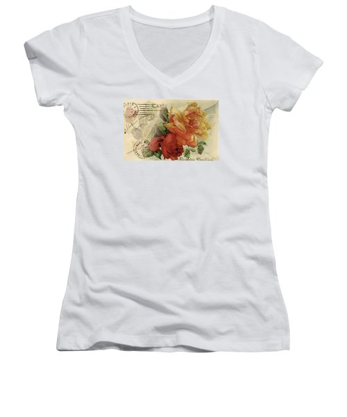 Women's V-Neck featuring the digital art Postal by Kim Kent
