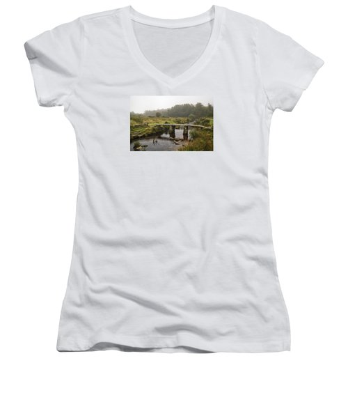 Women's V-Neck T-Shirt (Junior Cut) featuring the photograph Postbridge Clapper Bridge In Dartmoor  by Shirley Mitchell