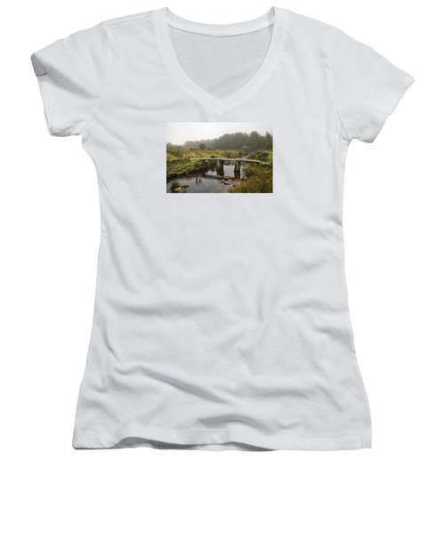 Women's V-Neck T-Shirt (Junior Cut) featuring the photograph Postbridge Clapper by Shirley Mitchell