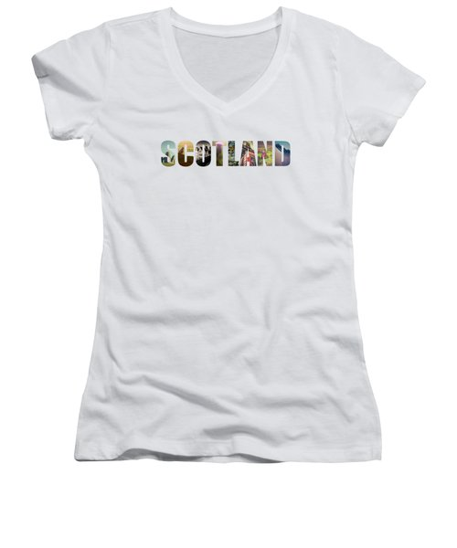 Postcard For Scotland Women's V-Neck T-Shirt (Junior Cut) by Mr Doomits