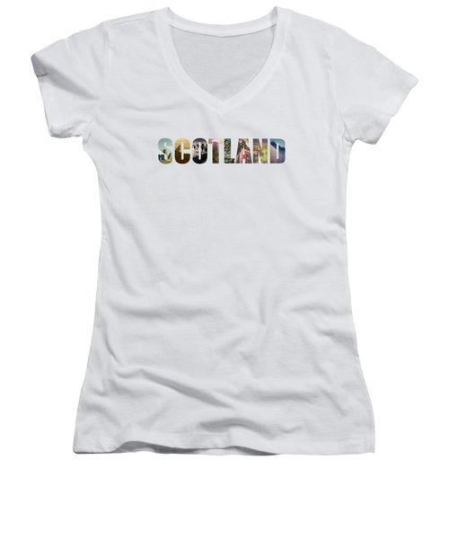 Postcard For Scotland Women's V-Neck T-Shirt (Junior Cut) by Mr Doomits