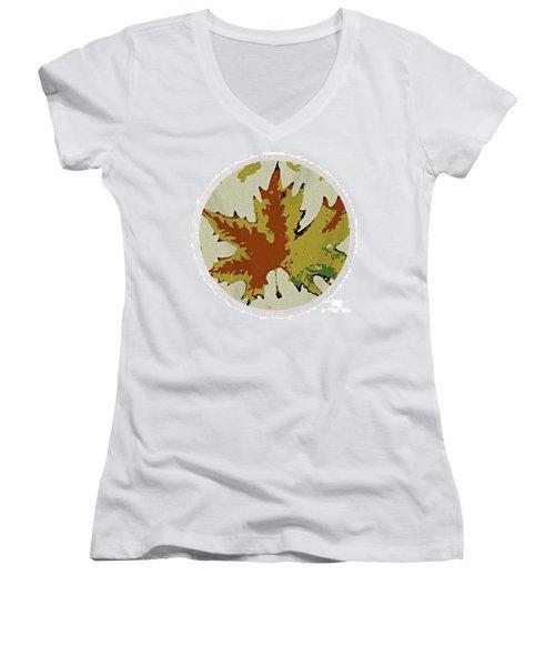 Posterised Autumn Leaf - Round Beach Towel Women's V-Neck T-Shirt