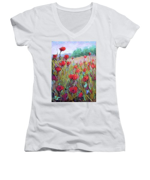 Praising Poppies Women's V-Neck