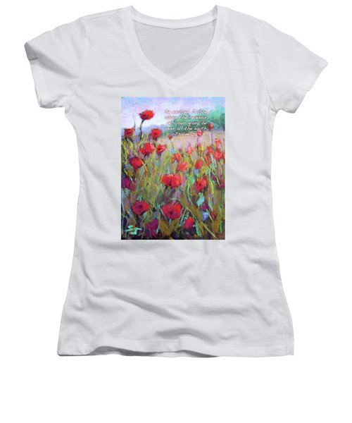 Praising Poppies With Bible Verse Women's V-Neck T-Shirt
