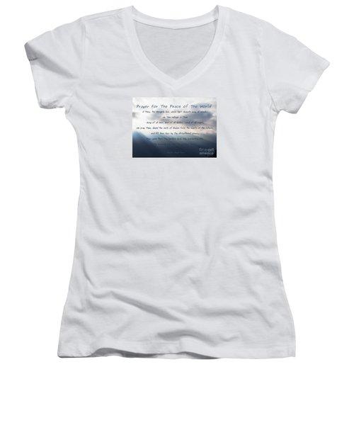 Prayer For The Peace Of The World Women's V-Neck T-Shirt