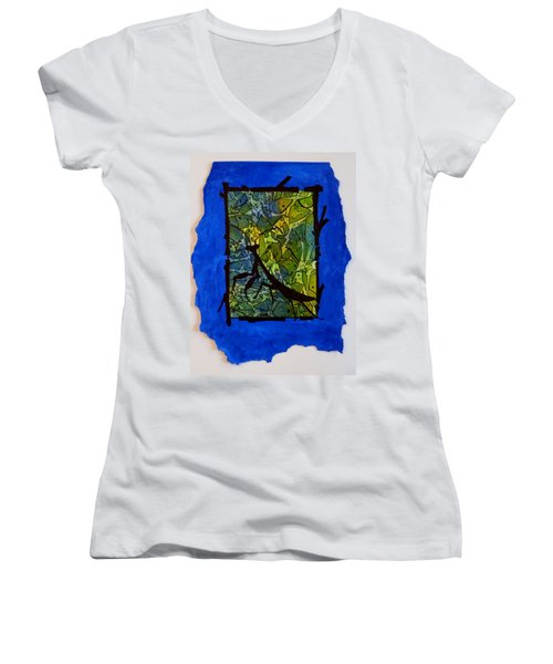 Praying Mantis Silhouette Women's V-Neck (Athletic Fit)