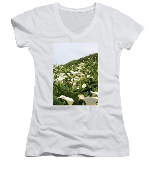 Women's V-Neck T-Shirt (Junior Cut) featuring the photograph Preaching To The Choir by Marie Neder
